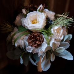Perfect #weddingbouquets for a winter wedding with pinecones, greens, white roses, and succulents. Photo: @samanthaclarkphoto #winterweddings #bridalbouquet #succulents #succulentbouquet #pinecone #pineconebouquet #diy #diybride #realweddings #phillywedding #phillyweddings #cheesesteaksandsoftpretzels #cspweddings #realphillyweddings #phillybrides #jerseybride
