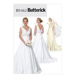 Pattern: Butterick B5462 VIntage Style Wedding Dress  Size:FF (16-22)  Availability: OOP  Condition: Uncut, Factory Folded  Swapper: Konnie Kapow  Will swap for: patterns, fabric,trims/ notions, buttons, books and more...