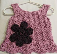 Crochet Baby Dress - Purple - 3 Months