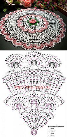 Napkin with a rose Crochet Placemats, Crochet Doily Patterns, Crochet Diagram, Crochet Chart, Thread Crochet, Filet Crochet, Crochet Motif, Crochet Designs, Crochet Lace