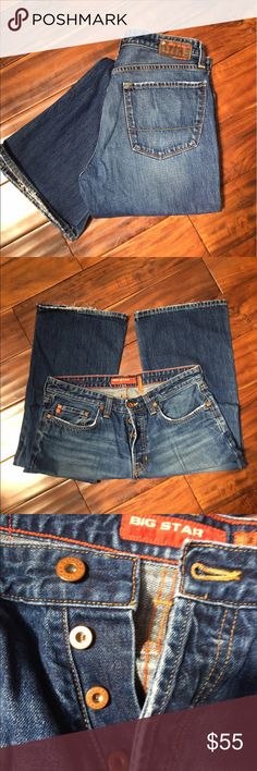Men's Big Star Roadie (Vintage) 34x33 Big Star Roadie buttonfly is the perfect jean for men. Made in the USA with Big Star signature quality. 100% Cotton makes these built to last. Hard to find vintage low-slung rock n roll style. Awesome! Get these for your man and you will enjoy the view! 34x33 Big Star Jeans Straight