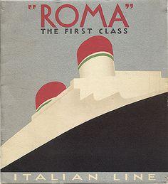 "Roma — Italian Line "" … Vintage Travel Poster, Art Deco, Circa 1930"