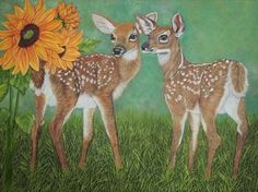 Whitetail Fawns and Sunflowers - Sofyaspaintings