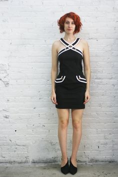 black sleeveless stretch dress with nautical sailor stars and stripes