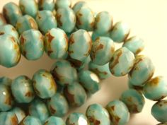 10 Baby Blue Beads Czech Opaque Picasso by allearringsandsuppli, $2.95