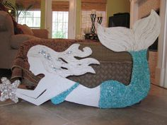 New OUTDOOR mermaid made with waterproof wedi board...Made To Order Outdoor Garden Poolside Beach by LucyDesignsonline,