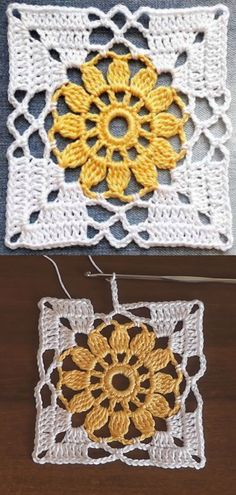 Crochet Easy Flower Square Motif Crochet flower granny square motif is one of those beautiful and easy patterns each and every crocheter would love to make. These colorful squares. Pull Crochet, Thread Crochet, Crochet Crafts, Double Crochet, Single Crochet, Crochet Projects, Free Crochet, Knit Crochet, Diy Projects