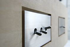 contemporary brushed metal SWAL [Light switches] , Material:Duralumin, Design:Mimasis Design , Manufacture:Sakamoto Kosakusho