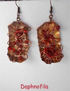 Copper earrings Handmade earrings Daphnofila earrings Greek
