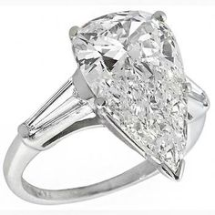 Estate 3.72ct Pear Shape Diamond Platinum Engagement Ring - See more at: http://www.newyorkestatejewelry.com/engagement-rings/vintage-3.72ct-diamond-platinum-ring-/25003/3/item#sthash.8o39GGlH.dpuf