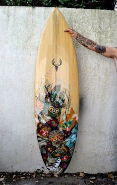 Surf Board, LOVE this. I love the design, the natural wood, and the ocean, I wanna surf so badly but I'm stuck in ohio :P
