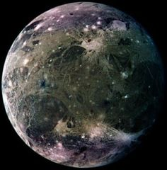 Ganymede is Jupiter's largest moon, and is the largest moon in the Solar System, even slightly larger than the planet Mercury. It has a liquid iron core, a thick icy crust, and layers of silicate rock in between. There is also thought to be a saltwater ocean about 124 miles below the surface. It was discovered in the 1990s that Ganymede has a very thin oxygen atmosphere and an ozone layer.