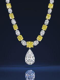 Collier Graff et diamant taille poire Graff Christie's New York