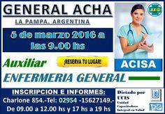 Auxiliar de Enfermería en General Acha (LP). Excelente capacitación laboral en salud