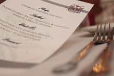 Wedding Menus can add a nice touch to your stationary theme and tables.