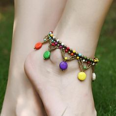 Handmade Braided Bohemian Truquois-Ethnic Foot Chains-Vintage Nature Stone Anklets Chains