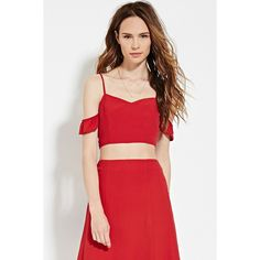 Love 21 Women's  Contemporary Cami Crop Top ($16) ❤ liked on Polyvore featuring tops, cami crop top, red top, off the shoulder ruffle top, ruffle top and v-neck tops
