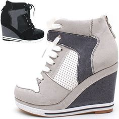 Women's ladies platform wedge booties high heels sneakers shoes lace up