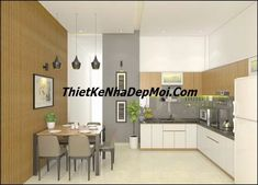 noi that bep an nha cap dep 5x20 chi diep My House Plans, Small House Plans, Kitchen Cabinets, Table, Furniture, Home Decor, Ideas, Little House Plans, Tiny House Plans