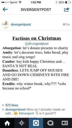 I agree. Thank goodness my faction is acting normal. Lol this is actually what I do on Christmas