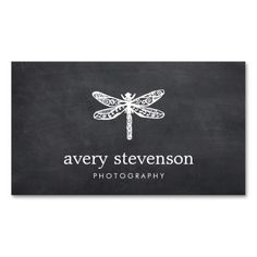 Nature Photography Dragonfly  Logo Chalkboard Double-Sided Standard Business Cards (Pack Of 100)