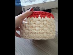 penye ipten sepet yapımı ( hasır modeli modelli sepet ) - YouTube