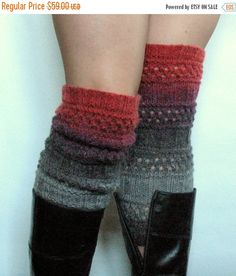 SALE Boot Cuff Boot Toppers Leg Warmers Striped Red by Initasworks