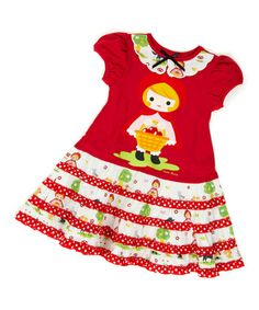 Another great find on #zulily! Red Riding Hood Puff-Sleeve Dress - Infant, Toddler & Girls by Servane Barrau Designs #zulilyfinds