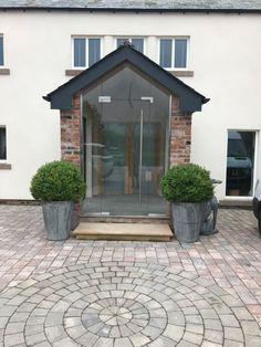 A new single glazed porch, supplied and fitted by FGC to a traditional property in Lancashire. The new porch comes in a modern design having a single Porch Uk, Porch Doors Uk, Patio Doors, House Front Porch, Front Porch Design, Exterior Glass Doors, Modern Entrance, House Entrance, Porch Designs Uk