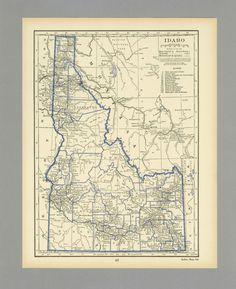 antique-vintage-map-idaho-1931-1930s