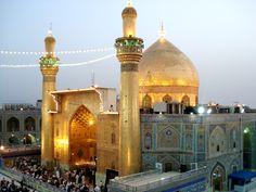 Imam Ali Mosque and Shrine in Najaf, Iraq Hazrat Imam Hussain, Hazrat Ali, Imam Ali, Karbala Iraq, Imam Hussain Wallpapers, Karbala Photography, Mola Ali, Mekka, Bagdad