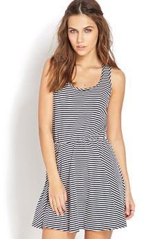 :: striped fit & flare dress ::