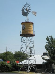 Grapevine, Texas A water tower with a windmill on top? That's two of our favorite roadside attractions bundled into one. We don't even care that the windmill isn't functional.  For more information, visit WayMarking.    - CountryLiving.com