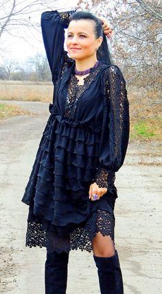 И вновь - маленькое черное БОХО платье - Ярмарка Мастеров - ручная работа, handmade
