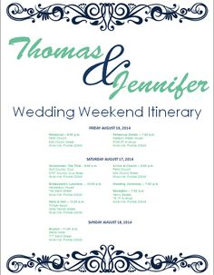 navy wedding weekend itinerary template download template on bridetodocom