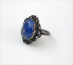 Art Deco Silver and Lapis Filigree Ring--Size 6.25