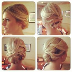 Wedding hair updo, messy updo, romantic hairstyle, hair knot, low updo