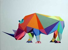 Rinoceronte Polygon Logo, Polygon Art, Geometric Origami, Geometric Art, African Animals, African Art, Rhino Tattoo, Rhino Art, Triangle Art