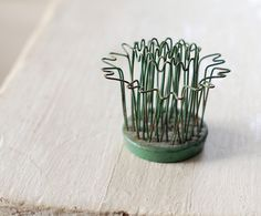 Vintage Hairpin Wire Flower Frog with chippy by FrogGoesToMarket