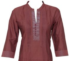 Ethnic Indian Black Red Cotton Top / Kurthi / Kurta by theaonline