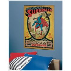 Superman Issue 1 Peel and Stick Comic Book Cover Giant Wall Decal Superman Room, Superman Comic Books, Batman And Superman, Superhero Room Decor, Book Wall, Man Of Steel, Poster Making, Comic Covers, Wall Decals