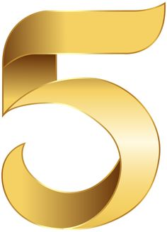 Golden Number Five Transparent PNG Clip Art Image