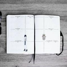 Francesca • Bujo & more (@frai.oh) • Minimal weekly layout in my bullet journal • Minimal spread • Minimalistic bujo