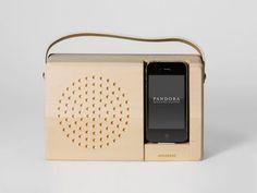 Alarm Dock and Analog Radio by Jonas Damon - Design Milk Analog Alarm Clock, Wooden Speakers, Passive Speaker, Ipod Dock, Frog Design, Smartphone, Transistor Radio, Office Accessories, Docking Station