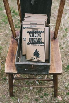 Vintage Wedding Program to Entertain guests at outdoor wedding | Jonathan David Photography