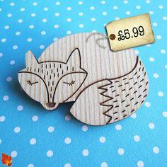 sweetest little wooden fox brooch, under £6!