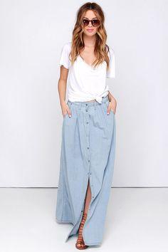 Baez Blue Chambray Maxi Skirt at Lulus.com!