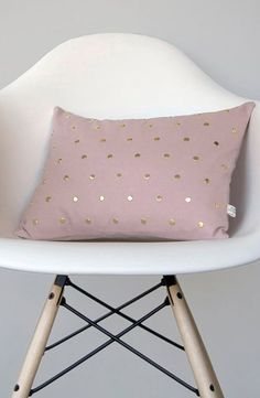 Studded Pillow Cover in Blush Linen in Polka Dot Pattern
