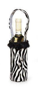 Zebra Wine Bag W Maribou