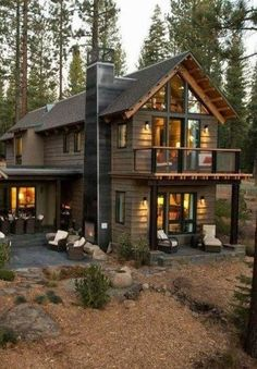 Rustic Cottage House Exterior Design Ideas To Copy - Modern Rustic Houses Exterior, Modern Farmhouse Exterior, Exterior House Colors, Farmhouse Ideas, Colonial Exterior, Home Exterior Design, Cafe Exterior, Tiny House Exterior, Restaurant Exterior